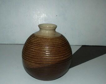 Vintage round pottery vase,earthenware glazed vase