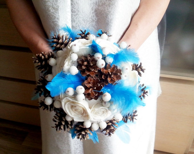 Winter wedding frozen wonderland BOUQUET ivory sola Flowers pine cones, raw cotton, feathers, frozen berries, sola roses, blue