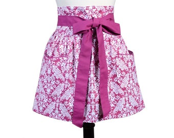 Womens Flirty Retro Half Waist Apron in Obi Design of Fuschia Wine Damask with Two Large Pockets