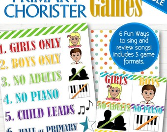 EDITABLE Primary Chorister Singing Time (for Fun and Reverent Songs) - INSTANT DOWNLOAD