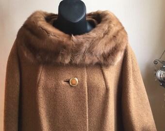 Vintage Fur Coat   Fur Collar 60s Coat   Rothmoor Coat 1960s   Mid Century Coat   Mink Fur Long Coat   Union Made in U.S.A   FREE SHIPPING