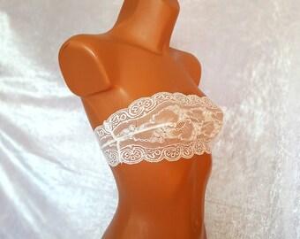 STRAPLESS TUBE TOP Boob Tube Top Womens White Bandeau Bra Sheer Lace Bra Mesh Crop Top Sheer Bralette