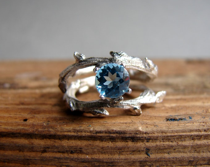 Blue Topaz  Engagement RingDouble Twisted Branch Elvish Twig  Ring Organic Jewelry December Birthstone