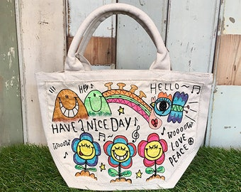 Smile Flower Embroidery Mini tote Bag