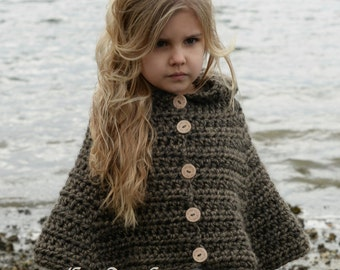 CROCHET Pattern - Stoyne Cape (2, 3/4, 5/7, 8/10, 11/13, 14/16, S/M, L/XL sizes)
