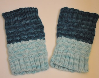 Cabled hand knit boot cuffs