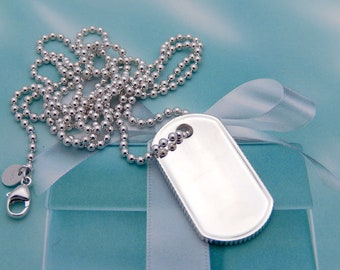 Tiffany coin edge business card holder in sterling silver tiffany co sterling silver coin edge dog tag pendant 32 bead chain reheart Images