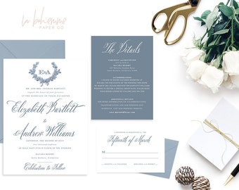 Printable Wedding Invitation Suite / Calligraphy / Wedding Invite Set -  The Elizabeth Monogram Suite