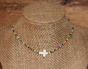 Multi-colored Beaded Cross Choker