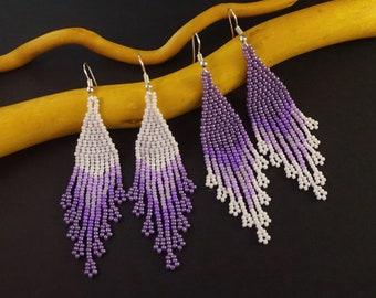 Lavender wedding earrings purple white beaded earrings Purple wedding earrings bridal earrings purple bridesmaid earrings orchid earrings
