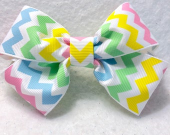 Girly Pastel Chevron Hair Bow