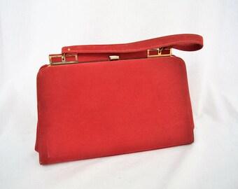 Vintage 1960s cherry red suede handle top handbag