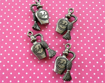 Perfume Bottle Charms-- 4 pieces-(Antique Pewter Silver Finish)--style 976