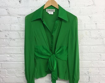 vintage green silk collared top / green tie waist blouse / victorian inspired button up shirt