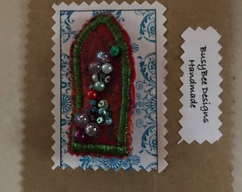 Handmade Arch Brooch Red Recycled Fabric Sequins, beading & stitch