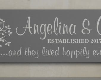 Established Sign Family Name Plaque Personalized with Tree Painted Gray 7x22, Custom Housewarming Gifts  - And They Lived Happily Ever After