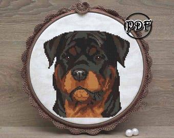 Rottweiler art - Cross stitch pattern pdf - Embroidery design file - Dog lover gift - Rottweiler mom - items, ornament, decor, Dog portrait