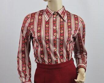 Vintage 1970's Patterned Floral Blouse