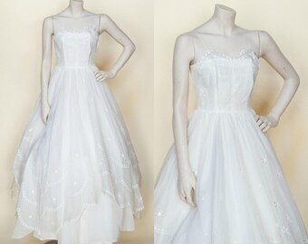 Vintage 1950s Princess Wedding Dress Small