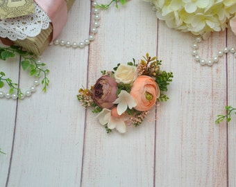 Peach hair clip Flower headpiece Bridal hair accessory Wedding flower clip Bridesmaid hair clip Brown flower hair clip Woodland wedding