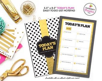 To Do List Notepad - Today's Plan - Premium Daily Planner Notepad - Gold, Black and White Dot - Available in 2 sizes - medium or large!