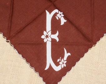 Vintage Hankie Handkerchief Monogrammed Hankie E Brown
