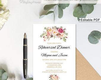 Wedding Rehearsal Dinner invitation Template, Floral Rehearsal Invite Printable, #A008, Editable PDF - you personalize at home.