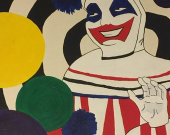 "I'm Pogo the Clown ~ John Wayne Gacy Inspired Acrylic Painting ~ 28"" x 22"""