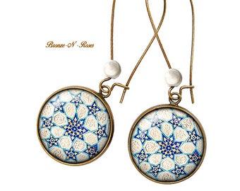 Earrings * mosaic Andalusian Arab * bronze glass cabochon blue