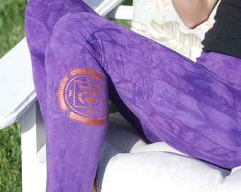 Tall Purple Hand Dyed Yoga Leggings with Optional Hand Painted Chakra Design including Extra Long and Plus Sizes by Splash Dye Activewear