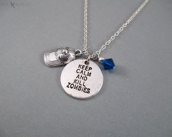 Glenn Keep Calm and Kill Zombies Baseball Cap Charm Necklace - The Walking Dead - Silver Charms