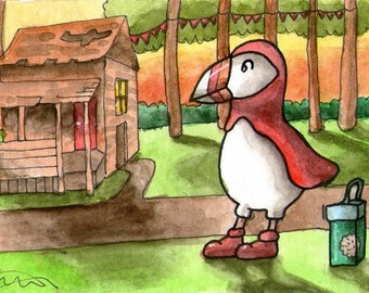 Puffin scout cookies shack house hut small wall miniature ATC Gift Art Trading Card Whimsical - Original ART ACEO Watercolor - Katie Hone