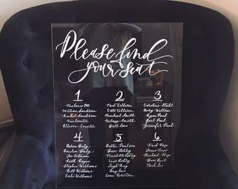 Acrylic Seating Chart- Wedding Seating Chart, Calligraphy Seating Chart, Acrylic Sign, Wedding Decor, Wedding Sign, Modern Wedding, Acrylic