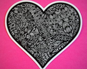 B&W  Heart Sticker