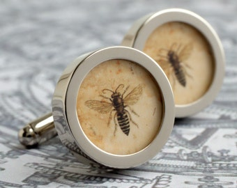Bee Cufflinks Vintage Steampunk Illustration Insect Cufflinks Honey Bee Personalized Colour Groomsmen Gift Mens Accessories PC490