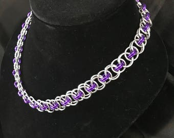 Sparkling Purple and Silver Helm Weave Necklace
