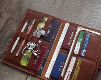 Family passport holder/Leather travel wallet/Monogramed Leather travel wallet/4, 6,8  passport holder