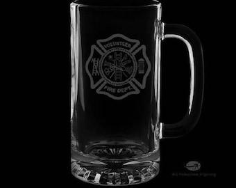 16 Ounce Volunteer Fire Department Personalized Beer Mug