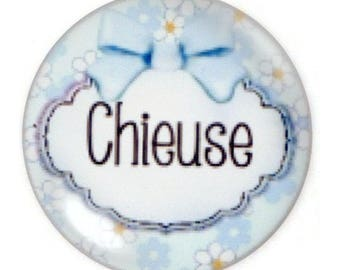 """Set of 2 cabochon """"Je suis"""" round glass 30mm"""