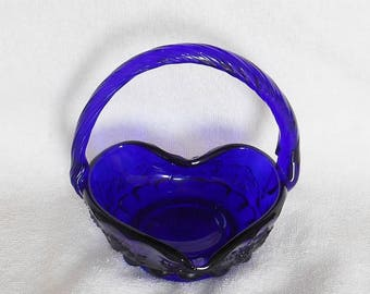 Westmoreland Glass Paneled Grape Pattern Cobalt Blue Heart Shaped Basket