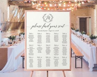Wedding Seating Chart Printable | Monogram, Seating Plan, Seating Chart, Printable Seating, Seating Assignment, Classic, Guest List