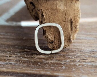 Tiny Earring, Square Hoop, 18g Argentium Silver, Endless Hoop, Cartilage Earring - Artisan Body Jewelry