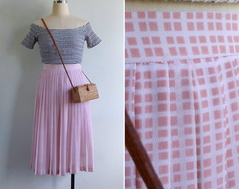 Vintage 80's Geometric Checkered Print Pleated Skirt XS or S