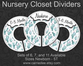 White Cactus Nursery Closet Dividers, Baby Clothes Dividers, Closet Organizer, Baby Shower Gift, Boho, Southwest Desert Nursery Decor