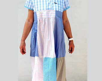 Repurposed Mens Shirt Cotton Midi Dress, Light Blue,  Indie Couture Dress, Resplendent Rags, loose cool summer dress, Patchwork dress shirts