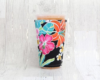 Tropical Floral Cup Cozy, Iced Coffee Cozy, Cup Sleeve, Coffee Cuff, Insulated Cup Sleeve