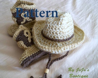 Cowboy Hat and Boots PATTERNS - Baby Cowboy Hat and Boots Set Tutorial - Western Hat and Boots Pattern -Crochet Pattern - by JoJosBootique