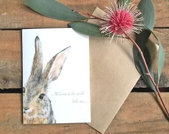 Greeting Card_Little Rabbit_New Baby Shower Sweet Innocent Animal Card