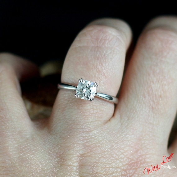 Top Forever One Moissanite Cushion Cut Solitaire Engagement Ring SN36