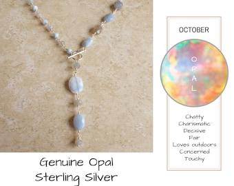 Blue Opal Necklace - October Birthstone Necklace - Asymmetric Necklace - Sterling Silver Necklace - Grey Moonstone Necklace